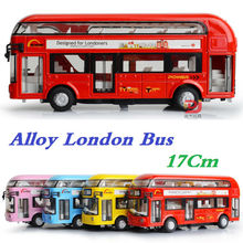 London Bus, Alloy Double Decker Bus, Light and Music, Open door design, design for londoners. Metal bus free Shipping(China)