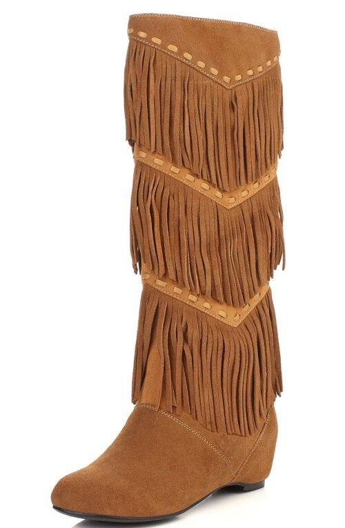 Black Brown Cowhide Suede Round Toe Increased Inner Side Zippers Women Knee High Tassel Boots 2015 Winter New Fashion Footwear<br><br>Aliexpress