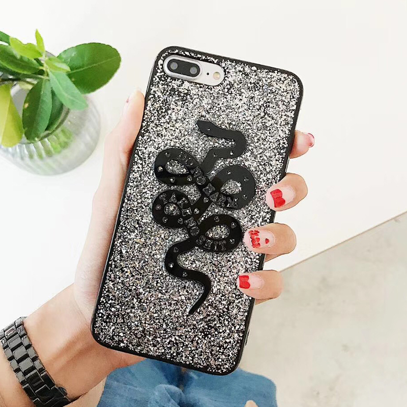 Fashion Snake Animal Brand Silicon Soft Case for iPhone 6 6S plus 7 7plus 8 8plus X 10 Phone Case Glitter Cover Coque Hull (4)