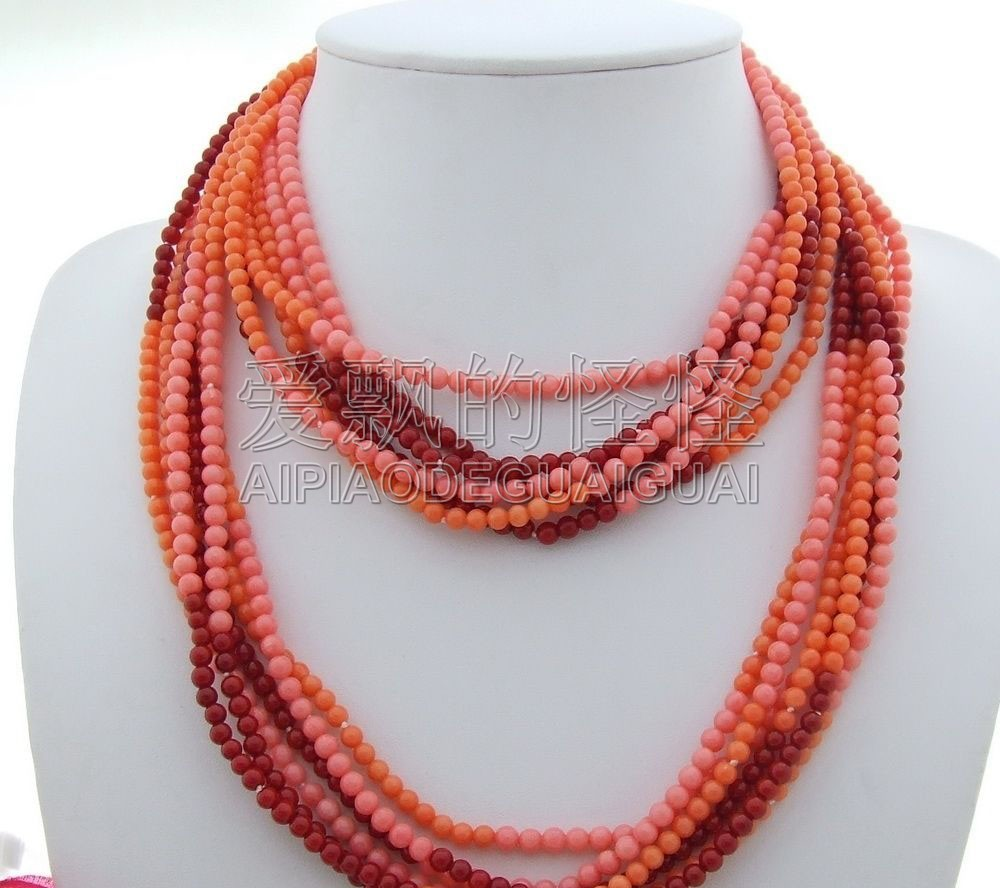 "N102603 40"" 6 Strands Multi Color Coral Necklace"