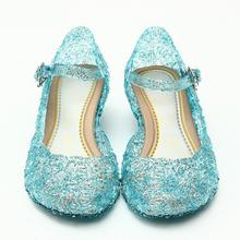 Ice Colors girl Shoes Children Casual kids Shoes Girl Princess Shoes Hole Elsa Anna Blue Crystal Shoes PVC Solid Toddler JM10(China)