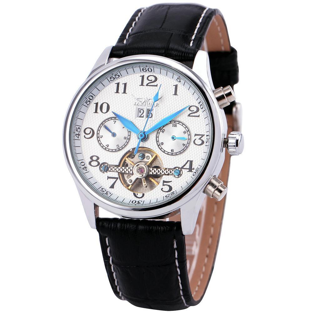Winner Automatic Mechanical Men Women Watch Leather Strap Date Calendar Sub-dials 3 Analog Display Vogue +Box<br><br>Aliexpress