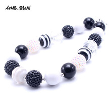MSH.SUN 2pcs Kid Bubblegum Bead Necklace White&Black Color Kid Chunky Necklace Choker Necklace Fashion Jewelry Children Girls
