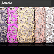 JAMULAR Artistic Carving Hollow Plating Phone Case For iPhone 8 7 Plus Plastic Back Cover Shell for iPhone 6S 6 Plus SE 5S Case(China)
