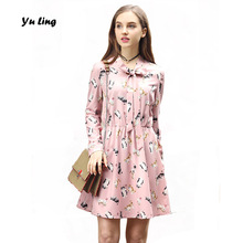 2017 Spring Autumn New Women's Fat MM Plus Size Long Sleeve Dress Womens Sweet Cute Cat Print Street Dating Dress L-5XL S0985