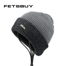 [FETSBUY] Winter Knitted Beanies Hat For Men Outdoor Balaclava Cap Women Velvet Turban Bonnet Face Mask Warm Caps Skullies 18016(China)