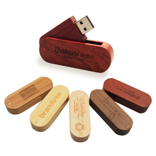 over 10pcs free custom LOGO rotatable Wooden USB Flash Drive Pendrive Memory Stick pen drive 128MB 4GB 8GB 16GB 32G wedding gift