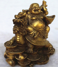 free shipping Chinese Copper Wealth Money Happy Laugh Maitreya Buddha On Dragon Turtle Statue