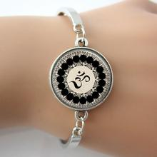 Glass dome Om Yoga Bracelet Jewelry,Om Symbol,Buddhism,Zen,Meditation, Mandala Art Picture Bangle From Indian A002