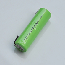 1-2pcs 2.4V 1/2A rechargeable battery 1500mah 1/2 A ni-mh nimh cell with welding tabs pins for electric shaver razor toothbrush(China)