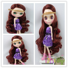 Good quality long burgundy body wavy baby girl bly the doll wig(China)