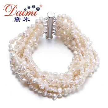 [Daimi] Magnifique Bracelet 10 Brin D'eau Douce Perle Ensemble Vintage Bijoux Livraison Gratuite [BRUINE]