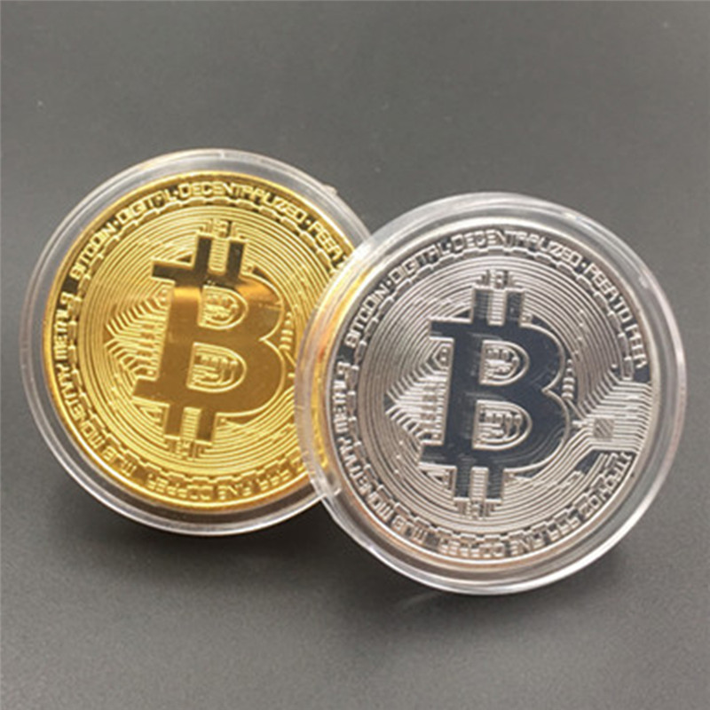 Silver/Gold Plated BTC Bitcoin Coin Collection Art Gift Collection Physical Coin Collection High Quality