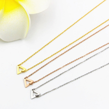 Horizontal triangular short Chains pendants & Necklaces 2016 New , fashion Stailess steel lady Women Jewelry christmas gifts(China)