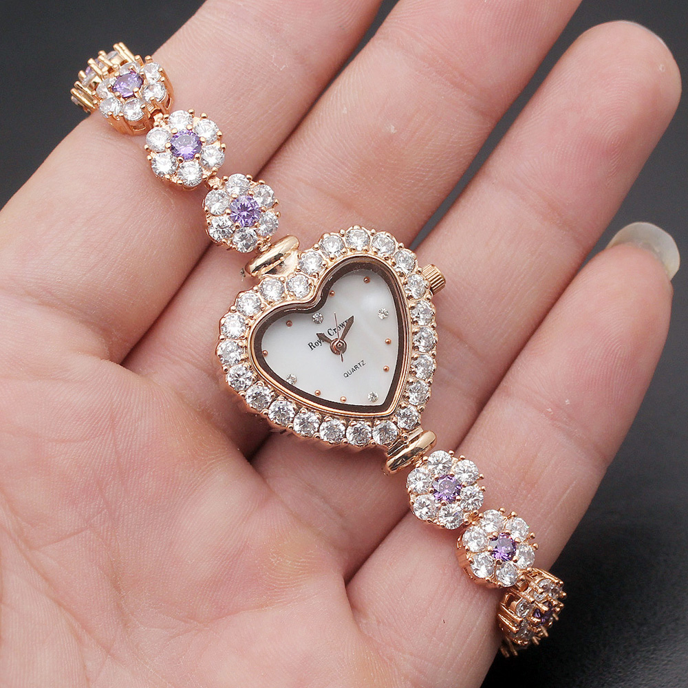Superb Love Gift Women Quartz Watch Shiny Lady Wristwatch Fashion Heart Jewelry Watches Party Bracelet 7.5''