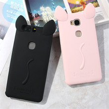 cute Cat ears with rope soft gel TPU silicon Shock-proof case For Huawei Honor 6X Play / Nova