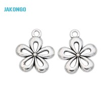 JAKONGO Flower Charms Tibetan Silver Plated Pendants for Jewelry Making DIY Jewelry Accessories Handmade 18x15mm