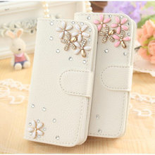 SK 2017 Luxury Bling Crystal Diamond White PU Leather Wallet Case Cover for Leagoo KIICAA Power