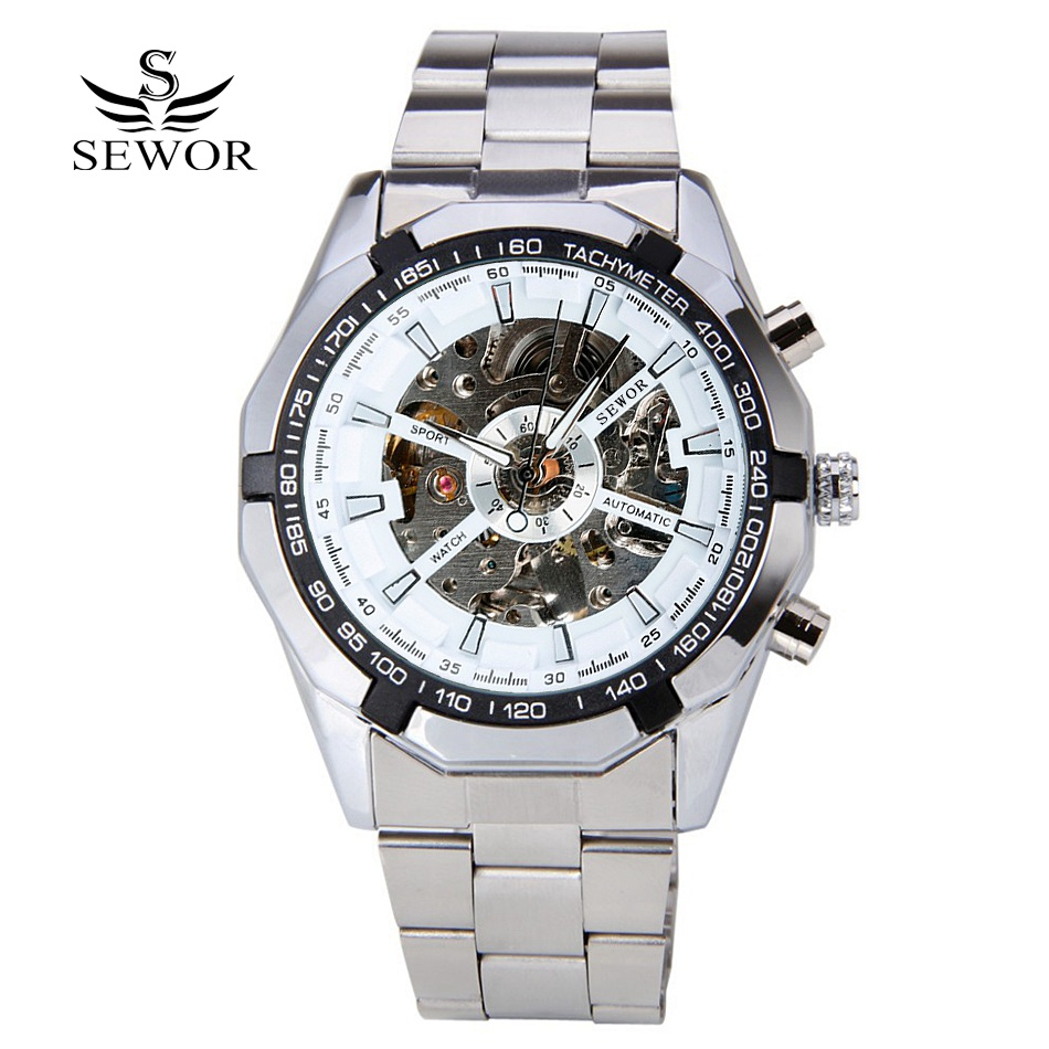 Fashion SEWOR Men Luxury Brand Stainless Steel\Leather Skeleton Watch Automatic Mechanical Wristwatches Gift Box Relogio Releges<br><br>Aliexpress
