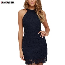 Buy Women Elegant Wedding Party Sexy Night Club Halter Neck Sleeveless Sheath Bodycon Lace Dress Short 2017