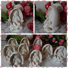 Free shipping Baby Angel in Egg Figure Resin toy vivid lifelike cake home office car decoration Baby Shower party supply gifts(China)