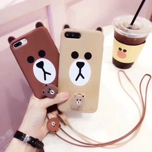 New Cute  Cartoon Love Toy 3D Cartoon Animal Tiny Brown Bear Soft Silicone Case Cover For iPhone 6 case 6 plus 7 7 Plus Case