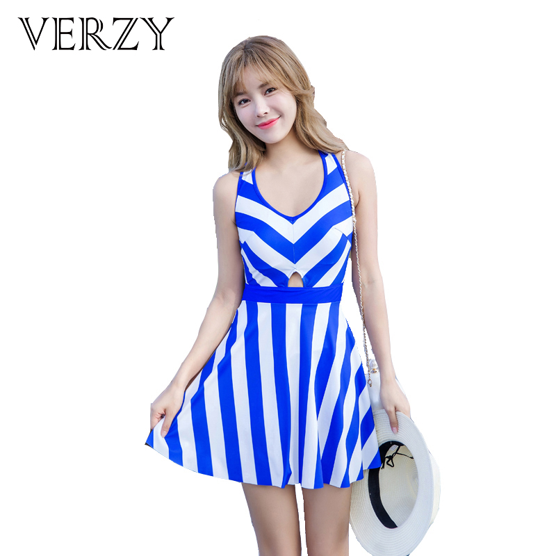 2017 new arrivals girls striped one piece swimsuits U-neck cross hollow design sweet and sexy summer beachwear women swim dress<br>
