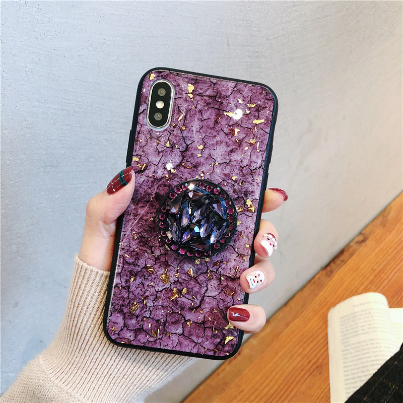 Green emerald marble pattern diamond extension bracket shiny silicone cover case for iphone MAX XS XR 6 S 7 8 plus X phone cases (6)