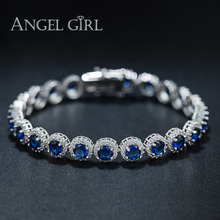 Angel Girl 2016 high quality white gold colour circular-shape Bracelets & Bangles for woman Ladies jewelry Blue Zircon christmas