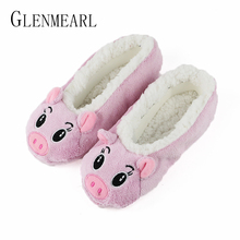 Cute Women Slippers Animal Winter Warm Soft Indoor Slipper Home Shoes Flats Non-Slip Comfortable Fur Slippers Chirstmas Gift3-35(China)