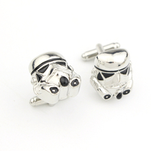 Star Wars Galactic Empire Imperial Stormtrooper Mask Cufflinks High quality Shirt Brand Cuff Buttons Silver Plated Cuff Links(China)