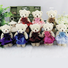 12cm Kawaii Mini Bear Dolls Plush Stuffed Toys,Small Pendant Stuffed Toys bear For Children,Wedding Christmas Gift,brinquedos