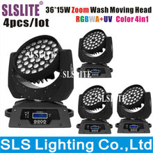 SLSLITE 4pcs/lot Hex Wash Zoom 36pcs*18W 6in1 RGBAW+UV ZOOM LED Moving Wash Light With Powercon RGBWY UV DMX stage lighting
