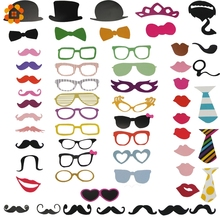 New Fun Photo Booth 58PCS/Set PhotoBooth Props Lip Mask Hat Glass Colorful Card On A Stick Wedding Party Decoration Favor(China)