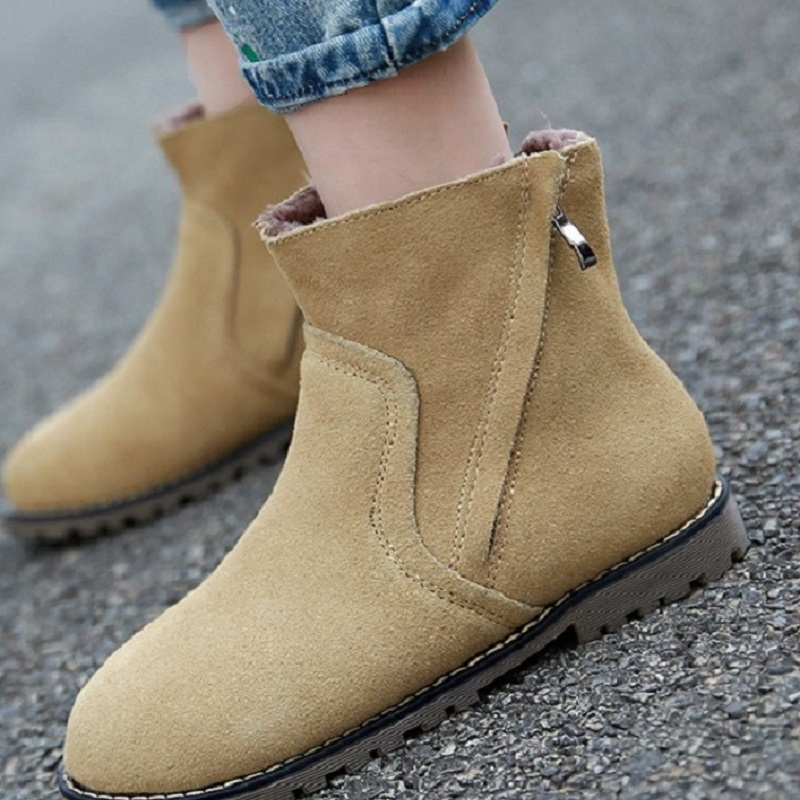 Casual Martin Shoes Woman Low Heeled Flat Bottomed Women Boots Autumn And Winter New Leather Botas de mujer<br><br>Aliexpress