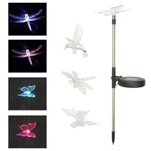 Multicolor LED Solar Light Outdoor Dragonfly/Butterfly/Bird Lawn Lamps Solar LED Path Light Outdoor Garden Lawn Landscape Lamp(China)