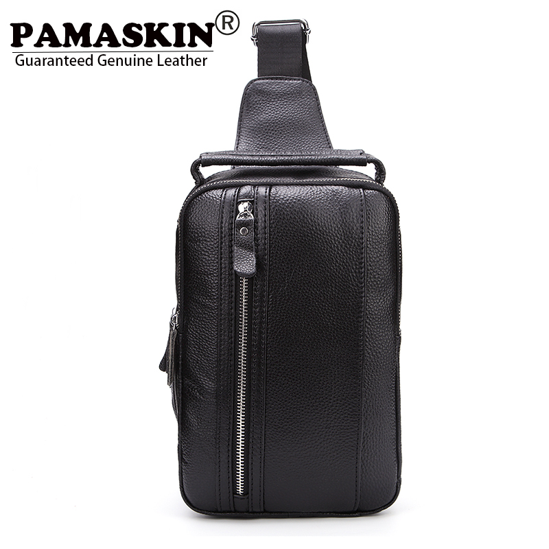 PAMASKIN Brand Men Chest Bags Premium Leather 2017 New Arrivals Messenger Bags for Men Large Space Male Shoulder Bag with Handle<br>