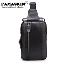 PAMASKIN Brand Men Chest Bags Premium Leather 2017 New Arrivals Messenger Bags for Men Large Space Male Shoulder Bag with Handle(China)