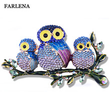 FARLENA Jewelry luxury full rhinestones painted owl brooch fashion large brooches for women dress accessory(China)