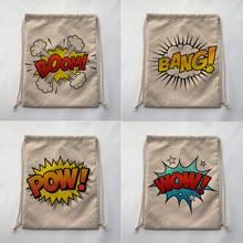 BOOM BANG POW WOW Print Custom Vintage Outdoor Beach Gym Swimming Clothing Shoes Storage Bag Drawstring Backpack