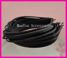 10PCS 3mm Black Satin Ribbon Wrapped Plain Metal Hair Headbands for DIY kids hair accessories