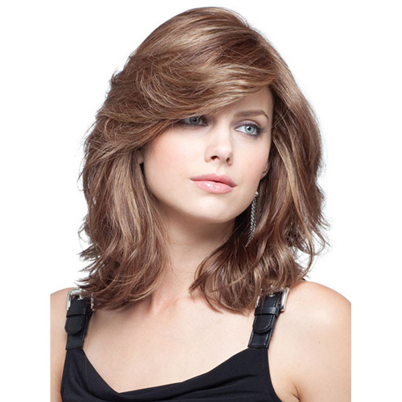 2017 New Arrival Women Highlight Color Chic Medium Wavy Hairstyle Synthetic Hair Wigs Hot Sale<br><br>Aliexpress