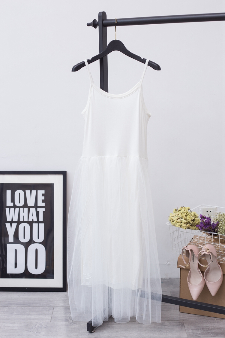 [EAM] 2017 Hot Fashion Pure Cotton Lace Split Joint Camisole Dress,5 colors available YD8100 6