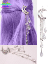 4 Colors ! Sweet Japanese Style Crystal Moon Statement Tassels Hair Jewelry Wedding Hair Accessories Bijoux Bobby Pin Girls(China)