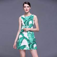 New 2017 Summer Runway Fashion Women Jacquard Dress Sleeveless Banana Leaf Print Cute Mini Casual Slim Brand Dresses JC47