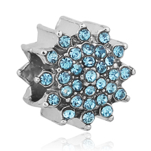 Authentic Silver Plated Blue Crystal Snowflake Charm Bead Fit Pandora Bracelet Necklace Original Accessories