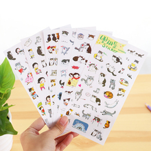 Creative Transparent Pvc Stickers Cute Black And White Cat Photo Album Decorative Stickers Child Diy Toy 6 Sheets/Set(China)