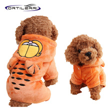 Ortilerri Fashion Coral Cashmere Warm Winter Dog Clothes Pet Coat Garfield Hoodie Jumpsuit Cartoon Jacket Clothing For Dogs