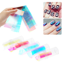 5Pcs/Lot Broken Glass Finger Nail Art Stickers Different Styles DIY Nail Art Stencil Decal Tips Nail Decoration Styling Tools(China)