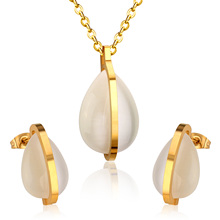 Stainless Steel Gold drop-shaped Jewelry set,Wholesale price with High quality(China)
